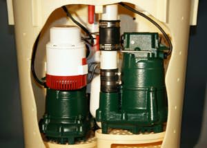 A cutaway view of our complete TripleSafe sump pump system in a home