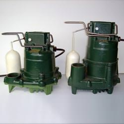 two submersible cast iron zoeller sump pumps