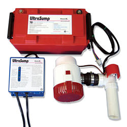 An UltraSump battery backup sump pump system.