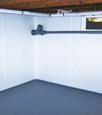 Plastic basement wall panels installed in a Leiscester, Great Britain home