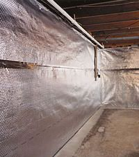 Radiant heat barrier and vapor barrier for finished basement walls in Leiscester, Great Britain